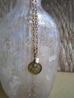 Vintage Saint Teresa medal necklace by susanruppel1 on Etsy, $50.00  #susan ruppel designs #vintage recycled repurposed necklace #vintage St. Teresa medal necklace #vintage St. Teresa medal #vintage medal necklace