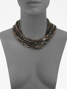 - Multi-Row Stone Accented Wooden Bead Necklace -