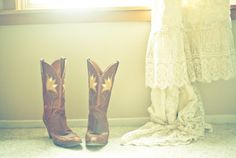cowboy boots, wedding dress