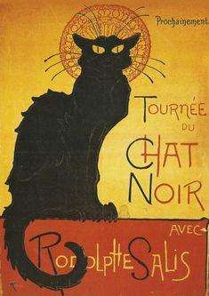 French Advertising Poster - Tournee du Chat Noir Rodolphe Salis - Black Cat - French Art nouveau via Etsy