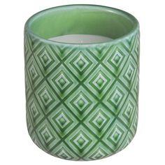 Bougie en céramique verte à motifs