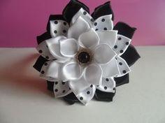 DIY kanzashi flower hairclip, kanzashi flower tutorial, how to, kanzashi flores de cinta - YouTube