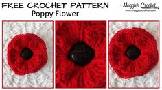 Tutorial for 'Ing's gorgeous ribbed poppy' crochet pattern Crochet Buttons, Knit Or Crochet, Crochet Motif, Crochet Hooks, Free Crochet, Crochet Stitch, Crochet Granny, Poppy Crochet, Crochet Poppy Free Pattern