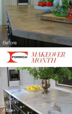 """We're seeing a """"marble"""" trend this month! Our second #MayMakeover also features 3460 Calacatta Marble 180fx® by Formica Group! Take a look at this great before  after, then read more details about the makeover."""