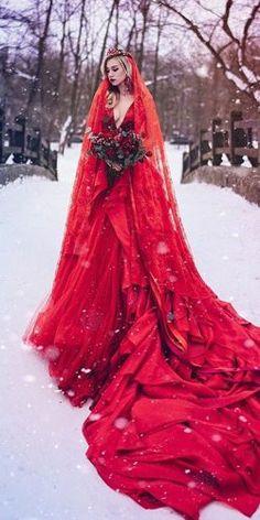 gothic wedding dresses red a line deep v neckline with veil malyarova olga