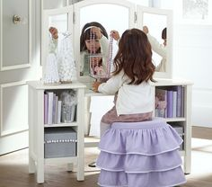 With sweet pink ruffles, this elegant vanity stool adds a whimsical feel to their space. Little Girl Vanity, Girls Vanity, Little Girls Playroom, Room Kids, Kids Rooms, Kids Bedroom, Bedroom Ideas, Cabana, Playroom Decor