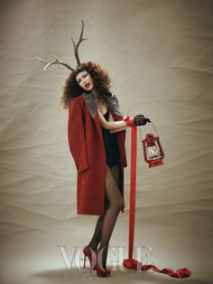 """Red Christmas"": Kyung Ah Song in Vogue Korea December 2012"