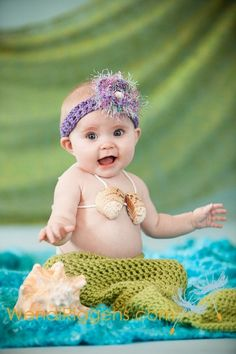 Mermaid photo set for a 6 month old sitting baby