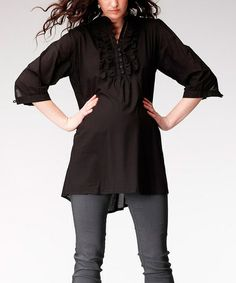 Look what I found on #zulily! Black Uma Maternity Tunic #zulilyfinds