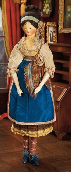 """Very Fine Large Grodnertal Wooden Doll with Original Wig and Costume 21"""" (53 cm.) All-wooden doll with one-piece head and torso,heart-shaped..."""