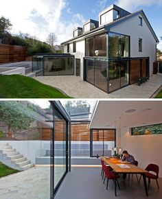 14 Examples Of British Houses With Contemporary Extensions | This British home went through a major upgrade that brightened and modernized the entire home, making it open and inviting.