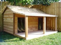 free dog house plans for large dogs   Bing Images   animals     This is quite a big pallet dog house which will take a lot of time but the  end result will be awesome  You can create this pallet dog house at the  corner