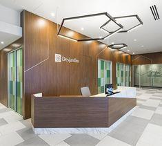 LEMAYMICHAUD   Design   Architecture   Interior Design   Commercial design   Quebec   Canada   Desjardins   Bank   Banque   Caisse   Desk   Design Commercial, Saint Laurent, Conference Room, Bathtub, Canada, Architecture, Furniture, Home Decor, Crate