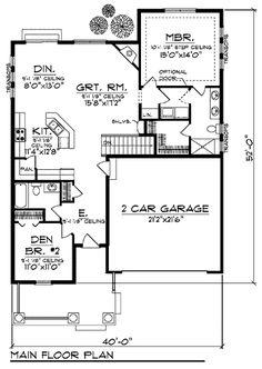 Farmhouse Style House Plan - 2 Beds 2 Baths 1372 Sq/Ft Plan #70-897 Floor Plan - Main Floor Plan - Houseplans.com