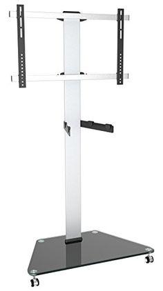 Ricoo FS0300�LCD/LED TV Tilt/Swivel Stand Glass Mount Rotatable with Castors Adjustable Shelf Height Max. VESA 400x400�Universal