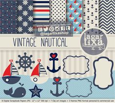 Vintage Nautico Fondos Digitales Papel Digital por LagartixaShop