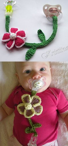 Free Knitting Pattern for Flower Pacifier Clip