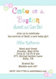 Cute As A On Baby Shower Sweet Can Be Love The Colors Invite For S Meet And Greet Or
