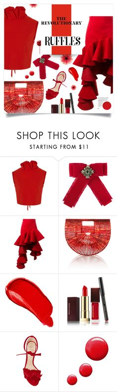 """""""the revolutionary ruffles"""" by lvfever ❤ liked on Polyvore featuring SemSem, Gucci, Jacquemus, Cult Gaia, Burberry, Kevyn Aucoin, Alexandre Birman, Topshop, red and ruffles"""