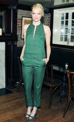 Emma Stone in green  with her normal red hair this would have been even greater!