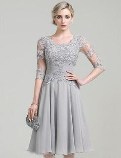 Cheap dress crop, Buy Quality dress lilac directly from China dress dinner Suppliers: Graceful A-Line Knee Length Mother Of the Bride Dresses with Lace & Appliques Half Sleeves Evening Dresses vestido de madrinha