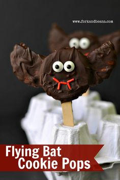 Flying Bat Halloween Cookie Pops