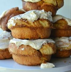 These Cinnamon Roll Doughnuts are fat and fluffy and have a gorgeous cream cheese frosting you'll be adding to all your pastries from now on. Strawberry Coconut Cakes, Cookie Crumbs, Cream Cheese Frosting, Doughnuts, Cinnamon Rolls, Oreo, Cookies, Baking, Eat