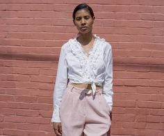 White Cotton, White Shorts, Ruffle Blouse, Nyc, Sleeves, How To Wear, Vintage, Shopping, Tops