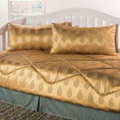 Shop for Regal gold seafoam Daybed Set. Get free delivery On EVERYTHING* Overstock - Your Online Fashion Bedding Store! Daybed Comforter, Ruffle Bedding, Comforter Sets, Bed Pillows, Daybed Cover Sets, Daybed Sets, Most Comfortable Sheets, Luxury Sheets, Comforters