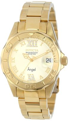 Father's Day Gift Idea - Invicta Men's Angel Analog Swiss-Quartz Gold Watch -  Gold dial with gold tone and pale green hands and gold tone roman numerals; luminous; unidirectional 18k gold ion-plated stainless steel bezel - Water resistant to 660 feet