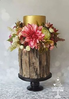 Lovin' this sweet cake with the weathered wood effect and lush sugar flowers from That Little Cake Place. Pretty, Pretty!!!!
