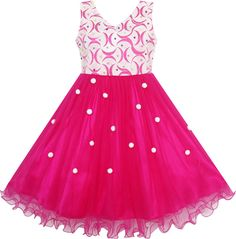 Flower Girls Dress Lace Pearl Dimensional Flowers Pageant Wedding Tulle #SunnyFashion #Party