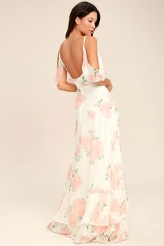 The Lulus Take You There Ivory Floral Print Maxi Dress will transport you to lush meadows! A lightweight chiffon floral print maxi dress. White Lace Maxi Dress, White Maxi Skirts, Floral Print Maxi Dress, Maxi Wrap Dress, Floral Dresses, Chiffon Maxi, Dress Long, Floral Lace, White Chiffon