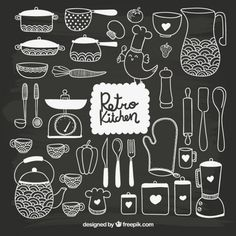 Hand drawn kitchenware in blackboard style Free Vector Chalkboard Vector, Chalkboard Signs, Chalk Lettering, Lettering Design, Blackboard Drawing, Painted Branches, Free Graphics, Blackboards, Chalk Art