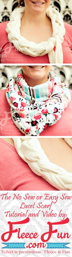 Lucet scarf tutorial - no sew and easy sew options with a video tutorial! #fleecefun #scarf #DIY