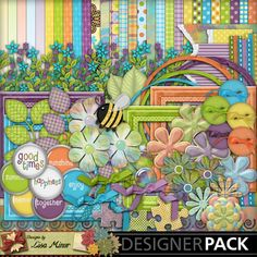 Happy Summer Day, Digital Scrapbook kit, scrapbook kit, word brad, bumble bee scrapbook, scrapbook flower, puzzle, button, clip art