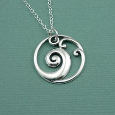 Zen Wave Necklace , 925 sterling silver zen necklace , wave pendant charm. $42.00, via Etsy.