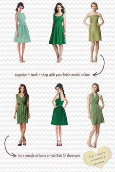 green mistmatched bridesmaid dresses // [sponsored] (Or just casual dresses for an individual person)