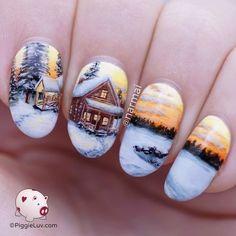 Freehand winter cabin landscape nail art #piggieluv #nailart #createivenails