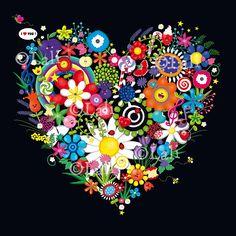 I love you / Flowers heart