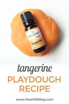 Tangerine Essential Oil Playdough Recipe We took our one pot playdough recipe and added tangerine essential oil.