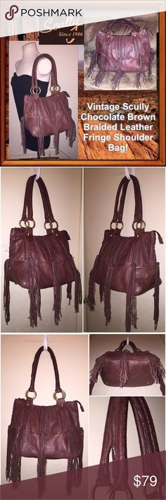 """VTG Scully Braided Leather Fringe Shoulder Bag! Vintage Scully Chocolate Brown Braided Leather Fringe Shoulder Bag! Features: pretty Western design, braided leather & trim, long hanging fringes, antiqued hardware, dual shoulder straps, one int slip pocket, one int zipper pocket & four bottom feet. Measures 11"""" top X 14"""" bottom X 6 1/2"""" wide with 10"""" shoulder clearance. No rips, tears or damage. VG condition. Offers welcomed! Scully Bags"""