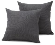 Strathwood Basics Sunbrella 16-by-16-Inch Throw Pillow, Set of 2, Canvas Coal