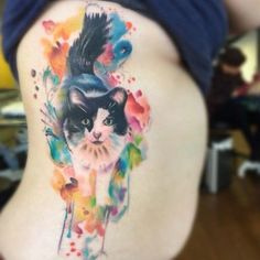 Watercolor cute cat side tattoo - 100 Examples of Cute Cat Tattoo Butterfly Sleeve Tattoo, Rose Hand Tattoo, Flower Tattoo Back, Butterfly Tattoos, Aquarell Tattoos, Kunst Tattoos, Black Cat Tattoos, Animal Tattoos, Tatoo Simple