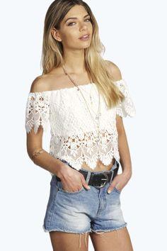 Felicity Crochet Off The Shoulder Top White Sheer Top, Sheer Crop Top, White White, White Crochet Top, Crochet Crop Top, Off Shoulder Outfits, White Off Shoulder Top, T Shirts, Stylish Outfits