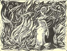 Beautiful ink illustration of a pot in a fire - Susan Rudat
