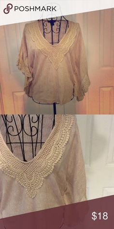 Forever21 Delicate Detail Boho Top Forever21. Loose, flowy sleeves with beautiful detail. Cotton material. Tan color. Perfect condition.  Please contact with any questions! Forever 21 Tops