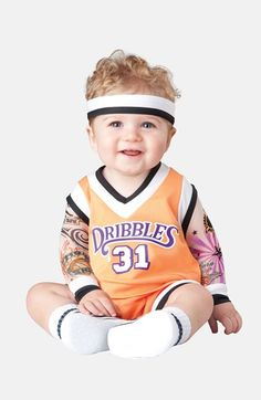 Free shipping and returns on InCharacter Costumes 'Double Dribble' Costume (Baby) at Nordstrom.com. Heading off the basketball court, your little baller will be slam-dunking it on Halloween in this sporty bodysuit that includes attached faux-tattoo sleeves with wrist bands