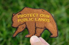 """Protect Our Public Lands Grizzly Bear Patch, 3"""" x 2"""" Embroidered Patch"""