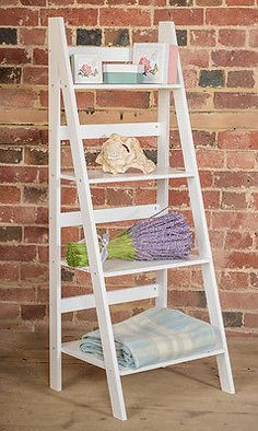 Ladder Book Shelf 4 Tier Bookcase Stand Free Standing Shelves Storage Unit White in Home, Furniture & DIY, Furniture, Bookcases, Shelving & Storage White Ladder Shelf, Diy Ladder, Bathroom Ladder Shelf, Wood Ladder, Bookcase Shelves, Ladder Bookcase, Shelving, Bookcase White, Bookcase Headboard